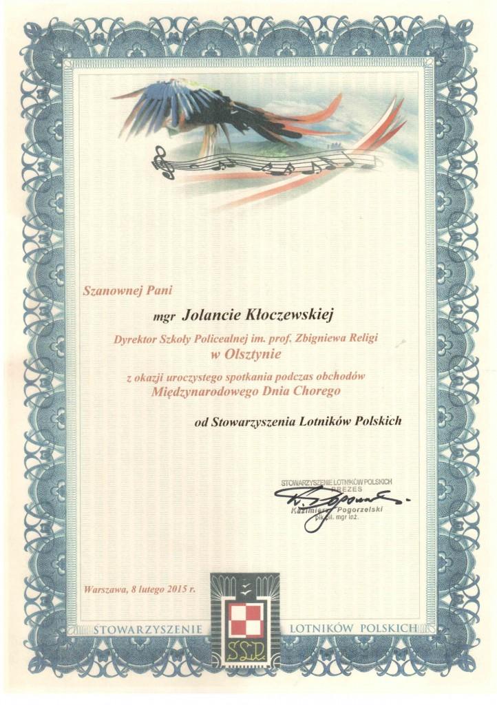Dyplom Stowarzyszenie Lotników Polskich